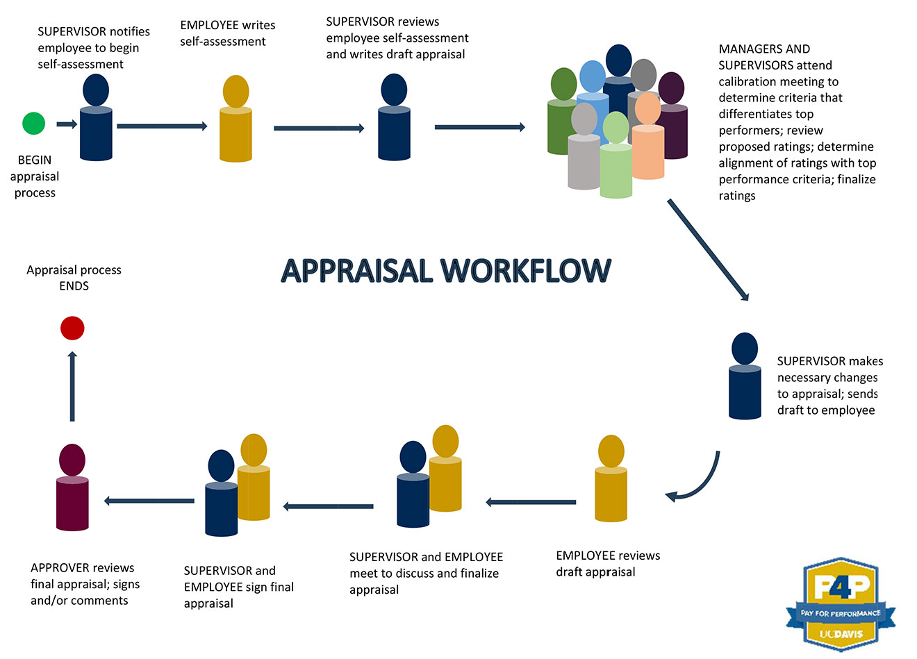 diagram showing the different processes of the annual appraisal workflow
