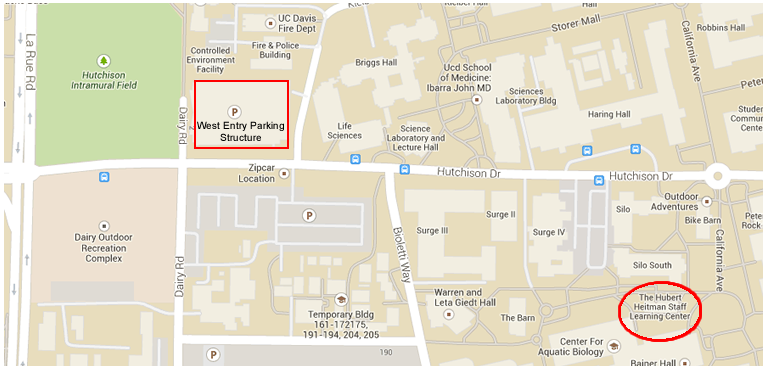 map showing the location of the heitman staff learning center on the uc davis campus