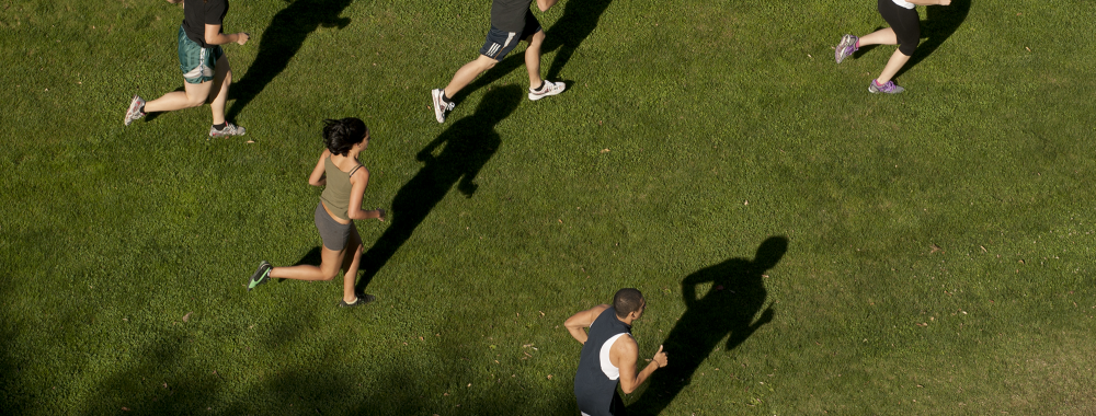 overhead shot of people running