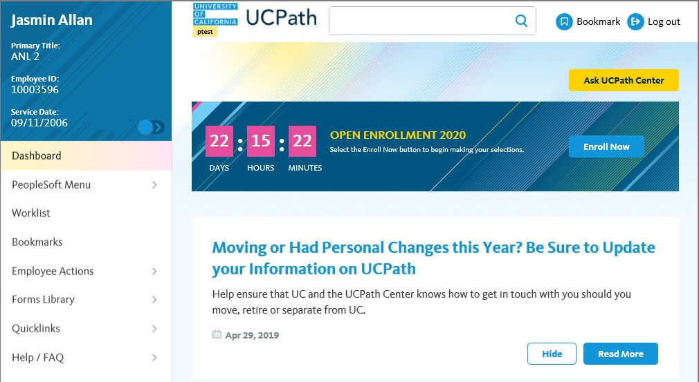 Screengrab of the Open Enrollment banner that will appear on the employee's UCPath dashboard once OE has started.