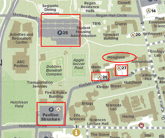 map showing the location of the hoagland hall on the uc davis campus