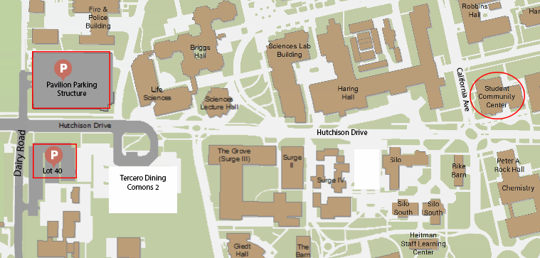 map showing the location of the student community center on the uc davis campus