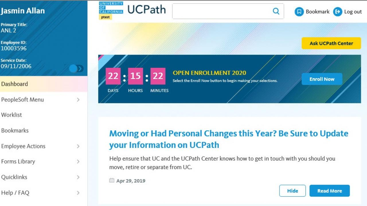 Screengrab of the UCPath Online dashboard employees will see when logging into UCPath