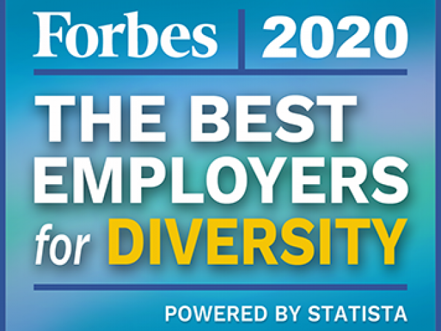 "Forbes logo that reads, ""Forbes 2020. The Best Employers for Diversity. Powered by Statista."""