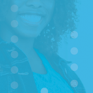 image of smiling employee with blue background.